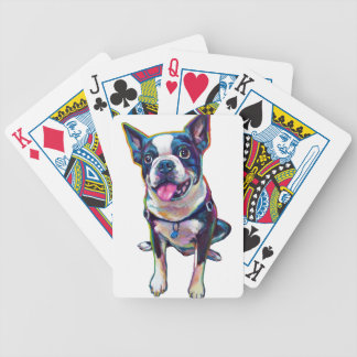 Louie the Cute Boston Terrier Bicycle Playing Cards
