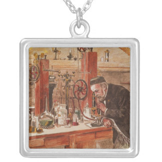 Louis Pasteur experimenting Silver Plated Necklace