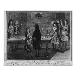 Louis XIV playing billiards with his brother Poster