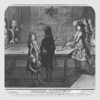 Louis XIV playing billiards with his brother Square Sticker