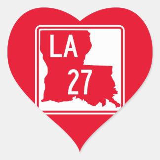Louisiana Highway 27 Heart Sticker