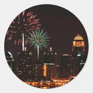 Louisville fireworks classic round sticker