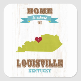 Louisville, Kentucky Map – Home Is Where The Heart Square Sticker