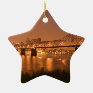 Louisville Kentucky Night Lights Bridge Ohio River Christmas Ornament