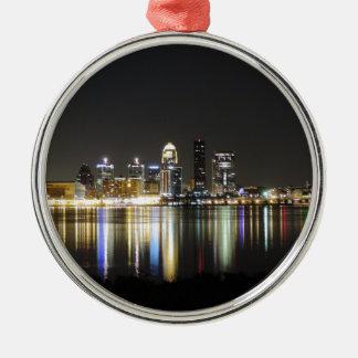 Louisville skyline at night christmas ornament