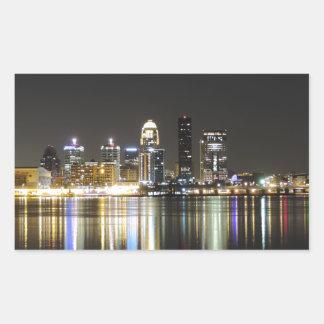 Louisville skyline at night rectangular sticker