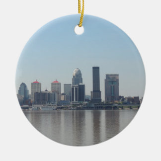 Louisville skyline during the day christmas ornament