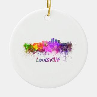 Louisville skyline in watercolor christmas ornament