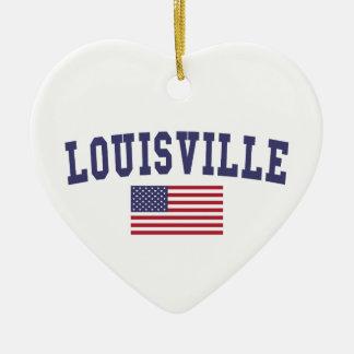 Louisville US Flag Christmas Ornament