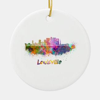 Louisville V2 skyline in watercolor Christmas Ornament