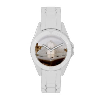 Louvre Museum - Sporty with White Silicone Strap Wristwatches