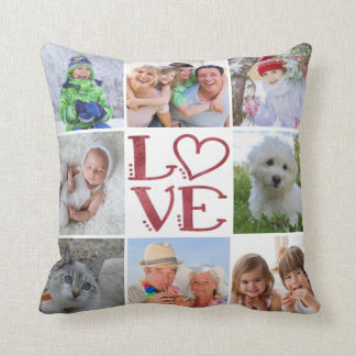 LOVE 8-Photo Collage (changeable background Cushion