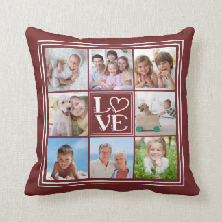LOVE 8-Photo Collage (changeable solid colour) Cushion