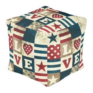 Love America Patriotic Americana Style Square Pouf