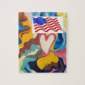 Love American Flag Jigsaw Puzzle