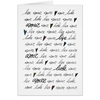 """""""Love Amour Amore Liebe Amor"""" Note Card"""