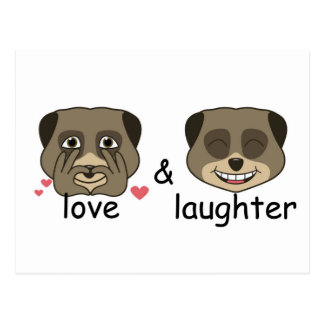 Love and laughter expression postcard
