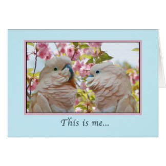 Love and Romance, Parrots and Crab Apple Blossoms Card