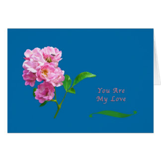 Love and Romance, Pink Garden Roses and Beetle Card