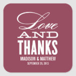 LOVE AND THANKS | WEDDING FAVOR LABELS SQUARE STICKERS