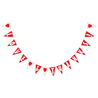 LOVE AND THANKS! WEDDING SIGN Triangle Shape Bunting