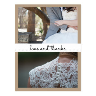 Love And Thanks Wedding Two Photos Beige Postcard