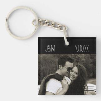 Love Anniversary Couple Photo Date Initials Key Ring