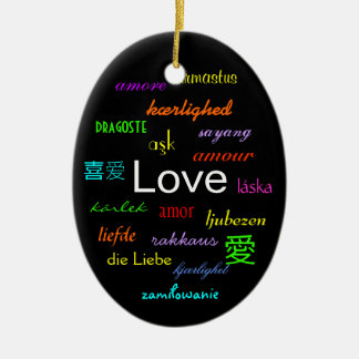 Love Around the World In Black I Double-Sided Oval Ceramic Christmas Ornament