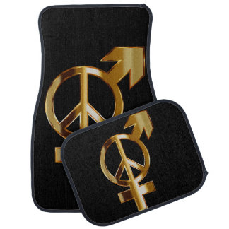 Love Arrow and Peace Sign Set of 4 Car Mats