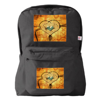 Love, beautiful heart made of metal backpack