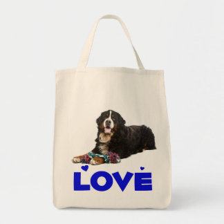 Love Bernese Mountain Dog Puppy Tote Bag