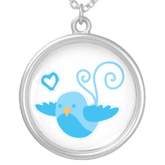 Love bird blue love heart personalise round pendant necklace