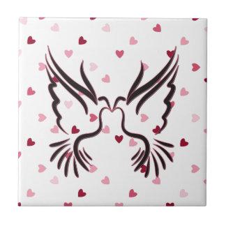 Love Bird in Black With Love Pattern Tile