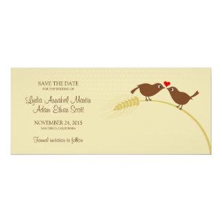 "Love Birds 4"" x 9.25"" Wedding Save The Date Card"