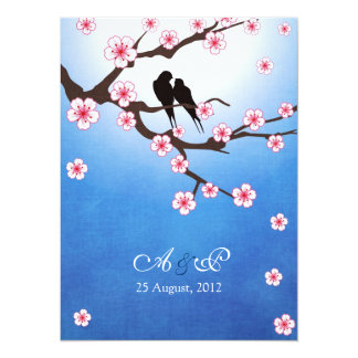 Love birds and Sakura - Blue Background 14 Cm X 19 Cm Invitation Card