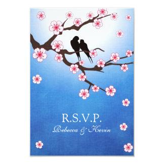 Love birds and Sakura - Blue Background RSVP 9 Cm X 13 Cm Invitation Card