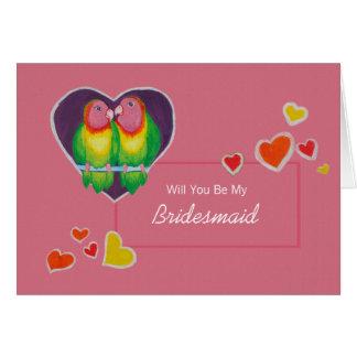 Love Birds Be My Bridesmaid Invitation