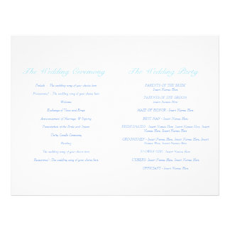 Love birds blue Wedding Programme