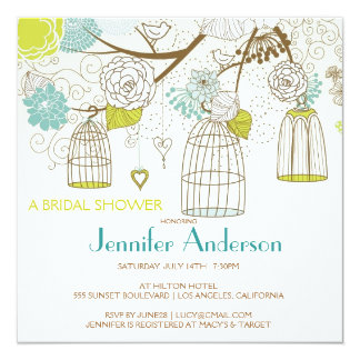 Love Birds Cages Flowers Tree Bridal Shower 13 Cm X 13 Cm Square Invitation Card