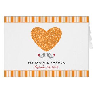 Love Birds Custom Striped Thank You Card (orange)