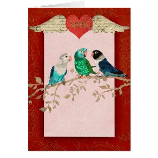 LOVE BIRDS Heart Valentine Card