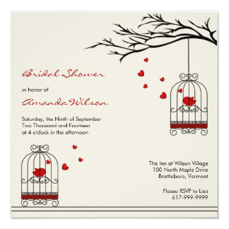 Love Birds in Birdcages Bridal Shower Invitations