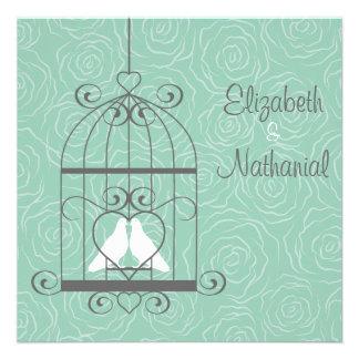 Love Birds In Cage Wedding Invitation-sage green
