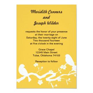 Love Birds on Branch-Yellow 13 Cm X 18 Cm Invitation Card