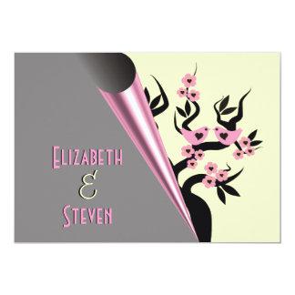 "Love Birds On Sakura Tree Wedding Invitations 5"" X 7"" Invitation Card"