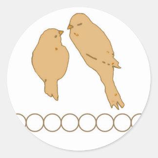 Love Birds Orange Round Sticker