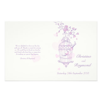 Love birds purple pink Wedding Programme