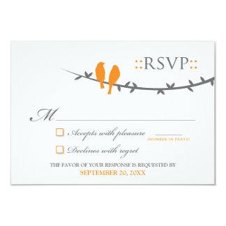 Love Birds RSVP Card (orange & white) 9 Cm X 13 Cm Invitation Card