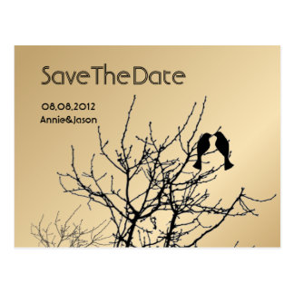 love birds rustic country wedding save the date postcard
