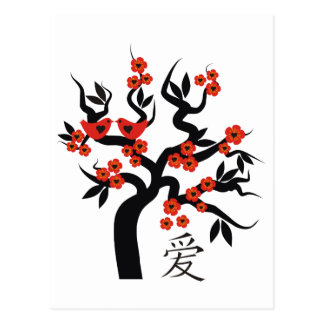 Love Birds Sakura cherry tree Chinese love symbol Postcard